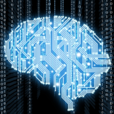 Abstract human brain in form of circuit board photo