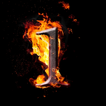 arithmetical: Hot metal burning numbers on black background - number one Stock Photo