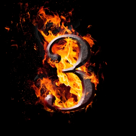 arithmetical: Hot metal burning numbers on black background - number three Stock Photo