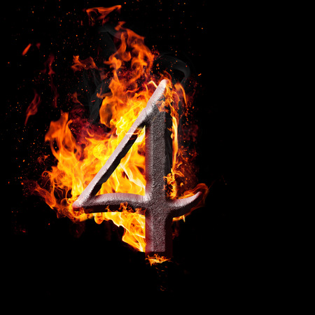 arithmetical: Hot metal burning numbers on black background - number four