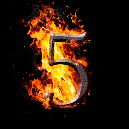 arithmetical: Hot metal burning numbers on black background - number five