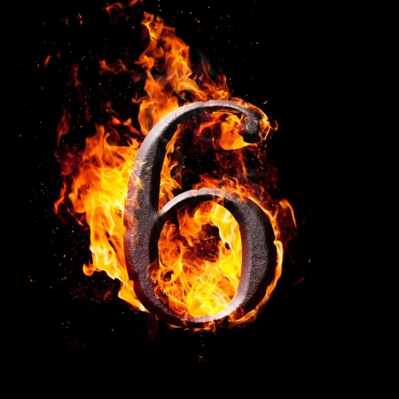 number six: Hot metal burning numbers on black background - number six