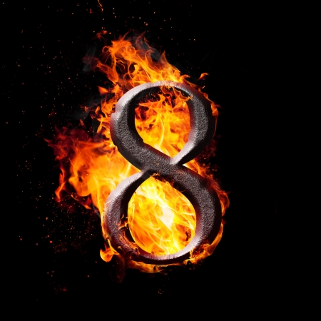arithmetical: Hot metal burning numbers on black background - number eight