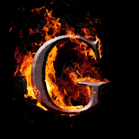 ardent: Letters and symbols in fire - Letter G.