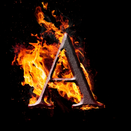 ardent: Letters and symbols in fire - Letter A. Stock Photo