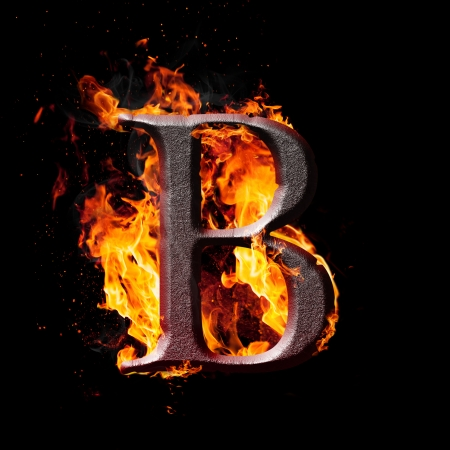 Letters and symbols in fire - Letter B. photo