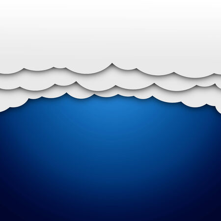 Illustration of white paper clouds on blue background
