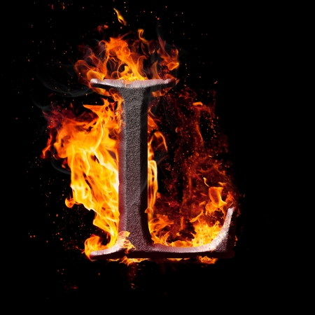 burning letter: Letters and symbols in fire - Letter L. Stock Photo