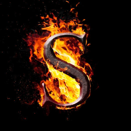 fire letter: Letters and symbols in fire - Letter S. Stock Photo