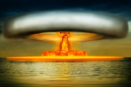 atomic symbol: Nuclear bomb explosion in the ocean