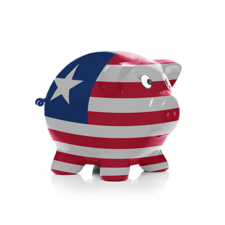 liberia: Piggy bank with flag coating over it isolated on white - Liberia