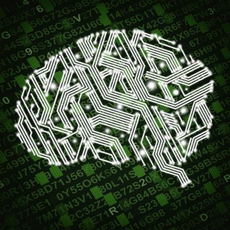 緑色の背景で回路基板の形で人間の脳のイラスト 写真素材