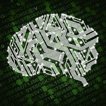 Illustration of human brain in form of circuit board on green background