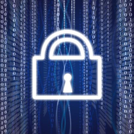 Illustration of lock shape on blue background with numbers illustration