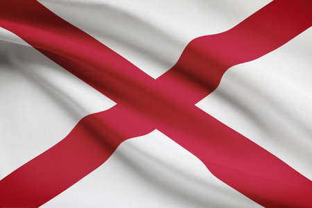 State of Alabama flag blowing in the wind. Part of a series. photo