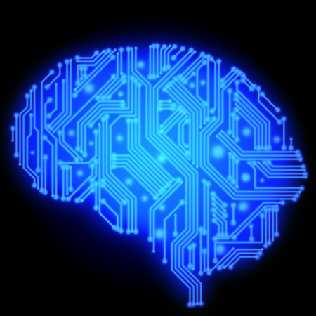 cybernetic: Illustration of blue human brain in form of circuit board on black background
