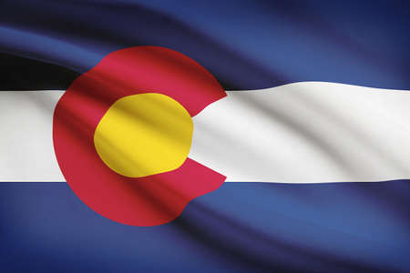 colorado flag: State of Colorado flag blowing in the wind. Part of a series. Stock Photo