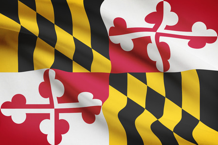 State of Maryland flag blowing in the wind. Part of a series.