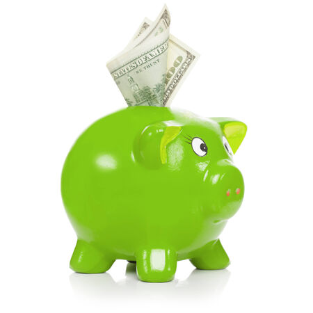 Green piggy bank with dollars sticking out - isolated on white background - 1 to 1 ratio photo