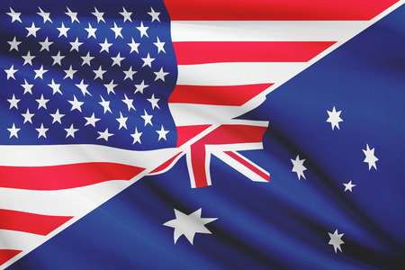 Flags of USA and Australia blowing in the wind. Part of a series.