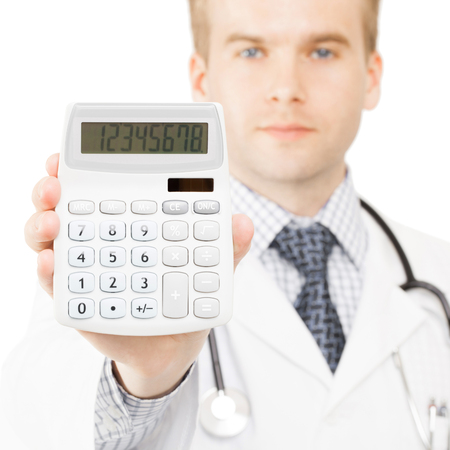 Medical doctor with calculator in his righ hand - 1 to 1 ratio photo
