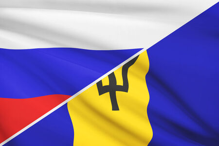 barbadian: Flag of Russia and Barbados blowing in the wind. Part of a series.