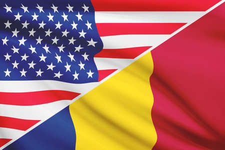 chadian: Flags of USA and Chad blowing in the wind. Part of a series. Stock Photo