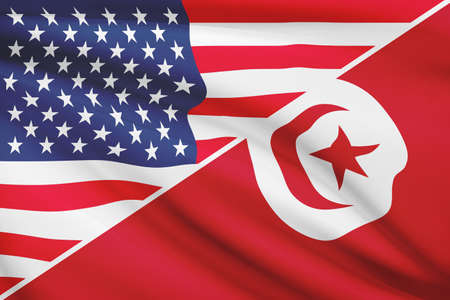 USA and Tunisian flag. Part of a series. photo