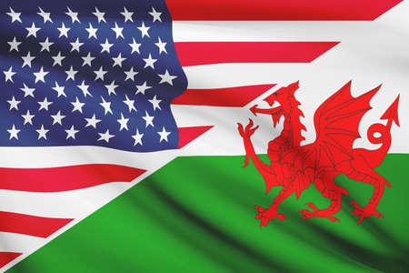 welsh flag: USA e il gallese bandiera. Parte di una serie.