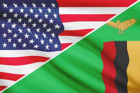 zambian flag: USA and Zambian flag. Part of a series.