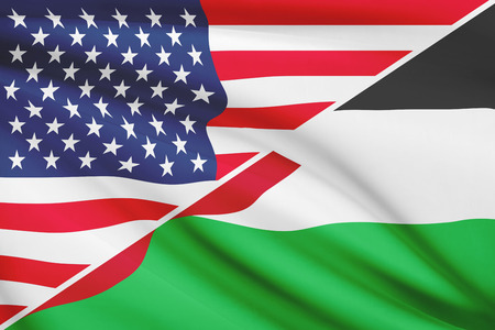 the hashemite kingdom of jordan: Flags of USA and Hashemite Kingdom of Jordan blowing in the wind. Part of a series.