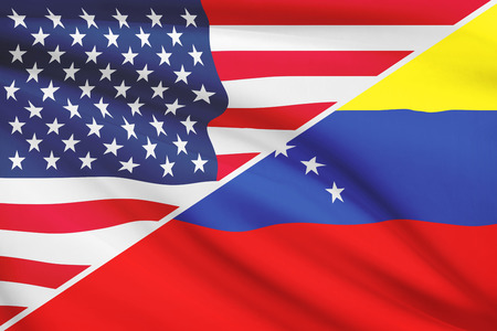 USA and Venezuelan flag. Part of a series. photo