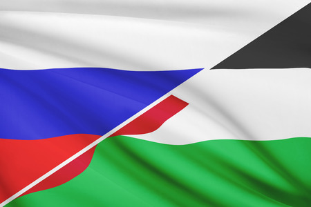 the hashemite kingdom of jordan: Flags of Russia and Hashemite Kingdom of Jordan blowing in the wind. Part of a series.