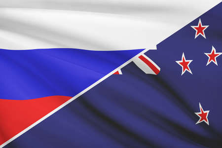 Flags of Russia and New Zealand blowing in the wind. Part of a series. photo