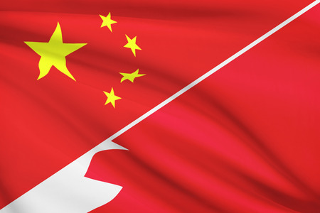 bahrain money: Flags of China and Kingdom of Bahrain blowing in the wind. Part of a series.