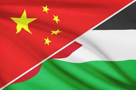 the hashemite kingdom of jordan: Flags of China and Hashemite Kingdom of Jordan blowing in the wind. Part of a series.