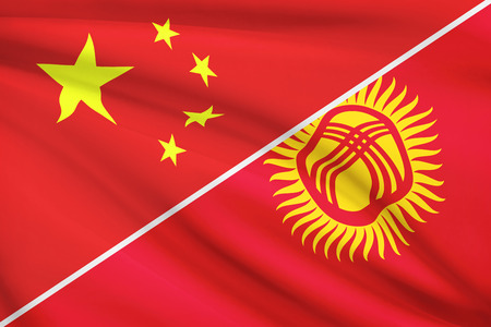 kyrgyz republic: Flags of China and Kyrgyz Republic blowing in the wind. Part of a series.