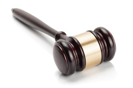gavel: Wooden judge gavel isolated on white background - studio shoot.  Stock Photo