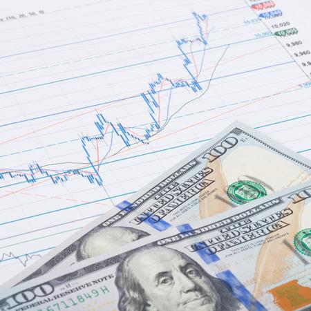 Stock market chart and 100 USA dollars banknote - studio shot - 1 to 1 ratio