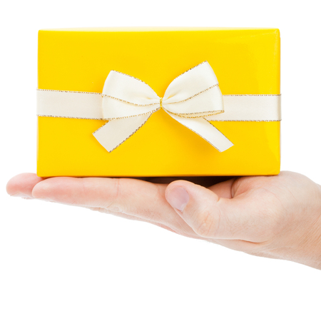 male palm: Close-up of present box on male palm - 1 to 1 ratio Stock Photo