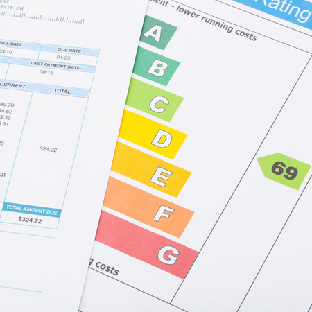 utility payments: Utility bill and energy rating chart  Stock Photo