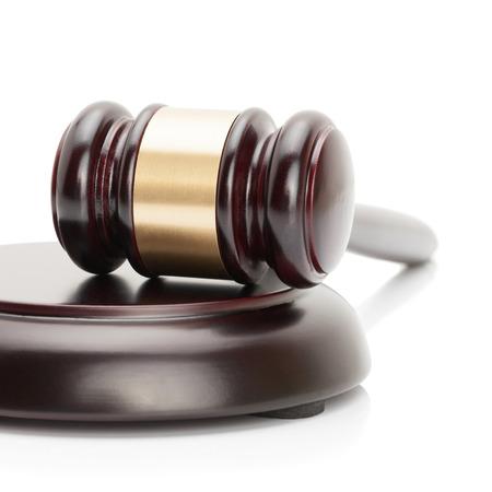 Judge gavel and soundboard isolated on white background  photo