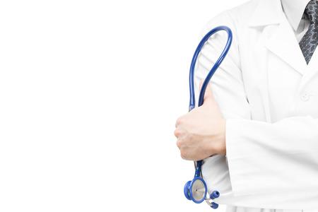 sano: Doctor que sostiene un estetoscopio en la mano
