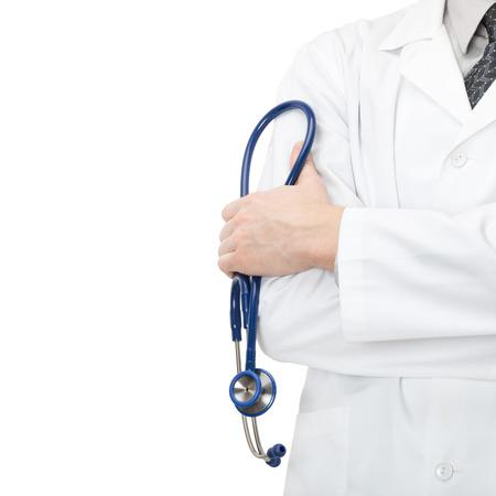 consulta médica: Doctor con un estetoscopio y las manos cruzadas delante de él - 1 a 1