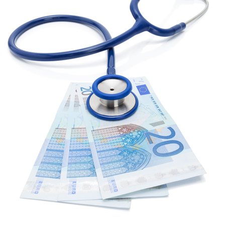 20 euro: 20 EURO banknotes with doctors stethoscope over it