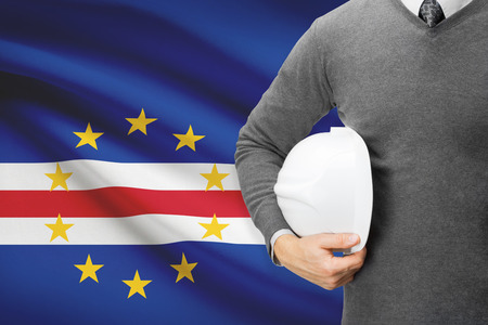 architector: Architect with flag on background  - Cape Verde Stock Photo
