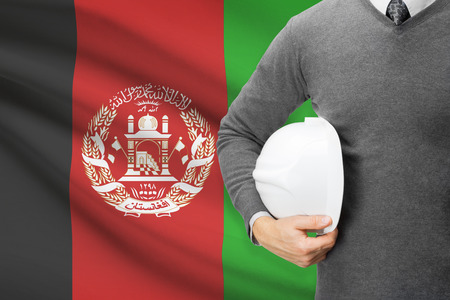 architector: Architect with flag on background  - Afghanistan