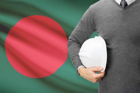 architector: Architect with flag on background  - Bangladesh