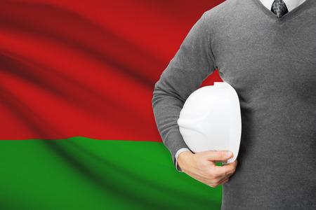architector: Architect with flag on background  - Belarus