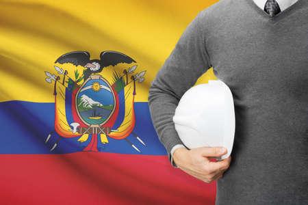 architector: Architect with flag on background  - Ecuador Stock Photo